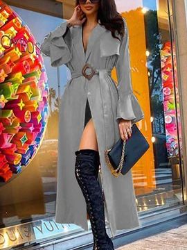 Ericdress Lapel Lace-Up Belt Fall Flare Sleeve Trench Coat