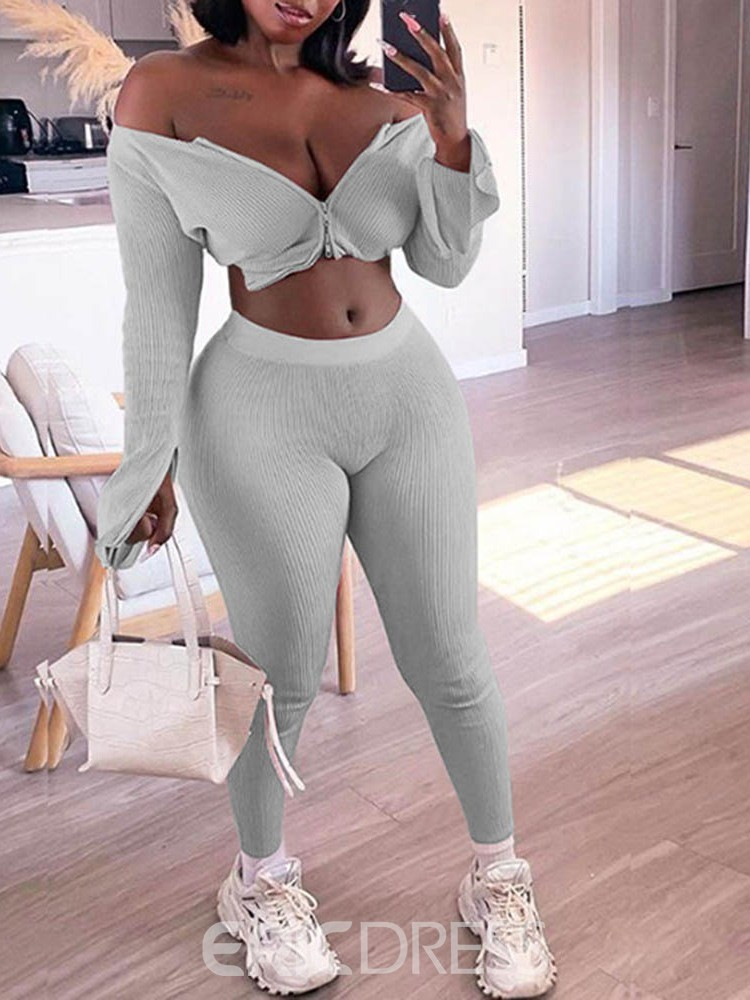 Ericdress Polyester Solid Quick Dry Zipper Long Sleeve Clothing Sets