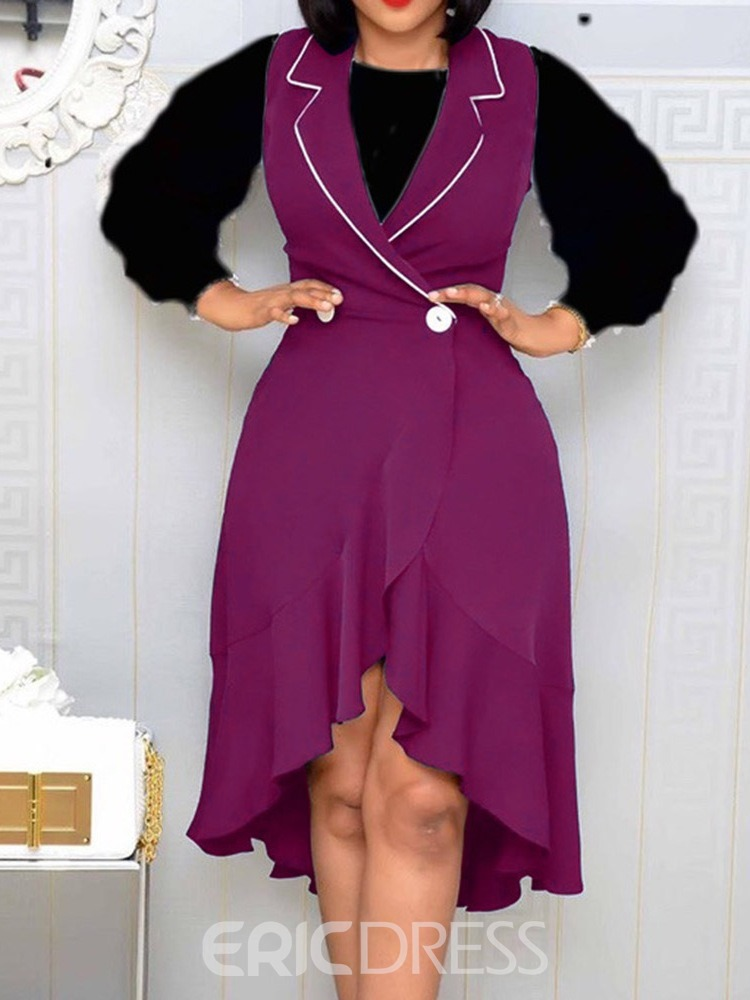 Ericdress Dress Color Block Western Asymmetrical Pullover Two Piece Sets