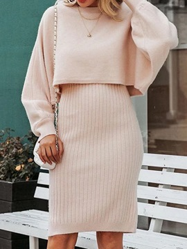 Ericdress Sweet Sweater Plain Bodycon Pullover Two Piece Sets