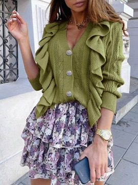 Ericdress Regular Single-Breasted Button Long Sleeve Fall Sweater