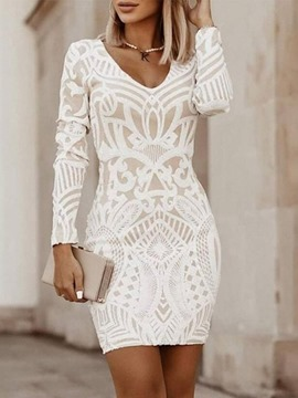 Ericdress Above Knee Print V-Neck Mid Waist Regular Dress