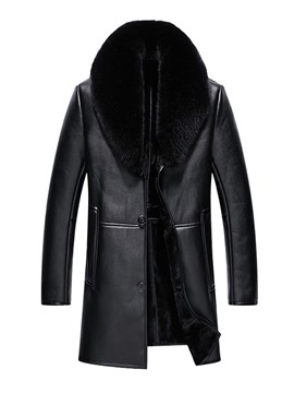 Ericdress Plain Mid-Length Lapel Loose Winter Leather Jacket
