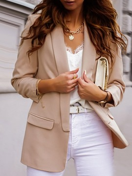 Ericdress Wrapped Long Sleeve Plain Mid-Length Regular Blazer
