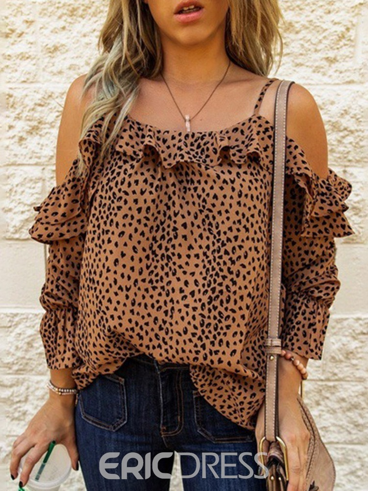 Ericdress Falbala Leopard Off Shoulder Three-Quarter Sleeve Standard Blouse