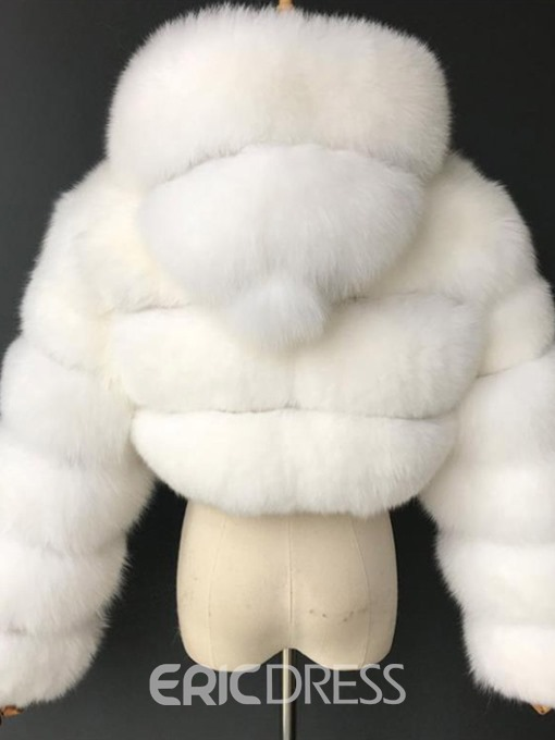 Ericdress Plain Short Hooded Slim Winter Faux Fur Overcoat