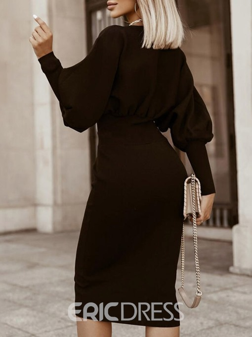 Ericdress Long Sleeve Round Neck Pleated Plain Spring Dress