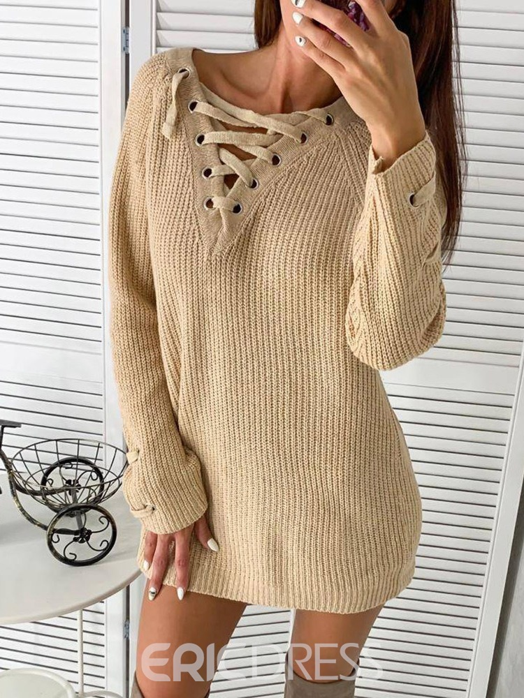 Ericdress Above Knee Long Sleeve Lace-Up Pullover Winter Dress