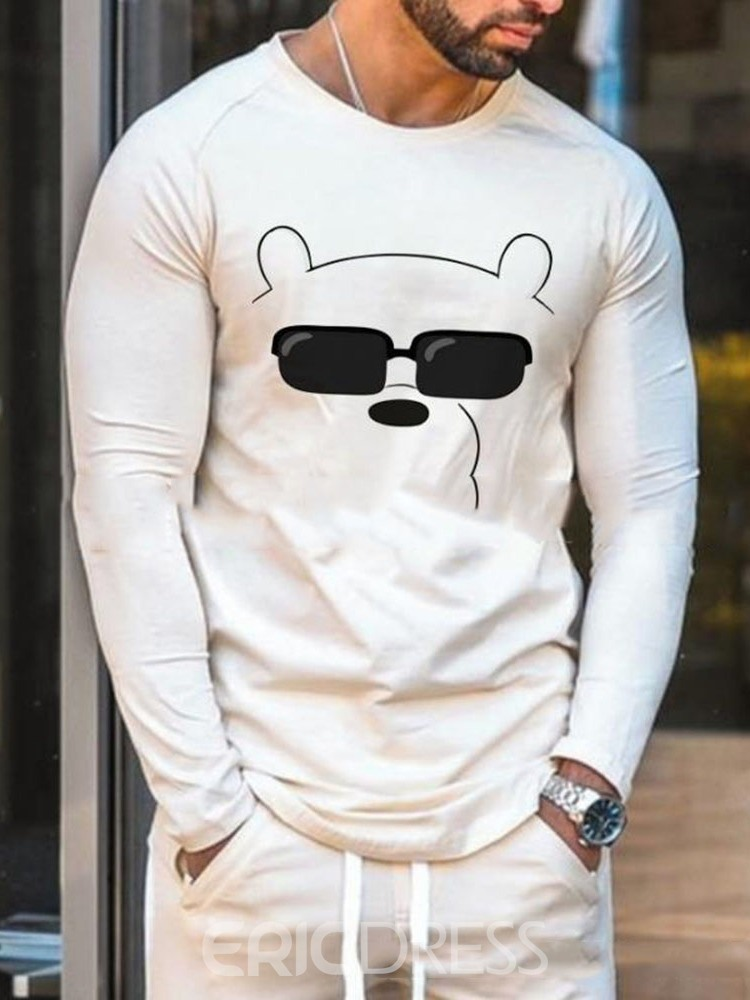 Ericdress Casual Cartoon Round Neck Pullover Long Sleeve T-shirt