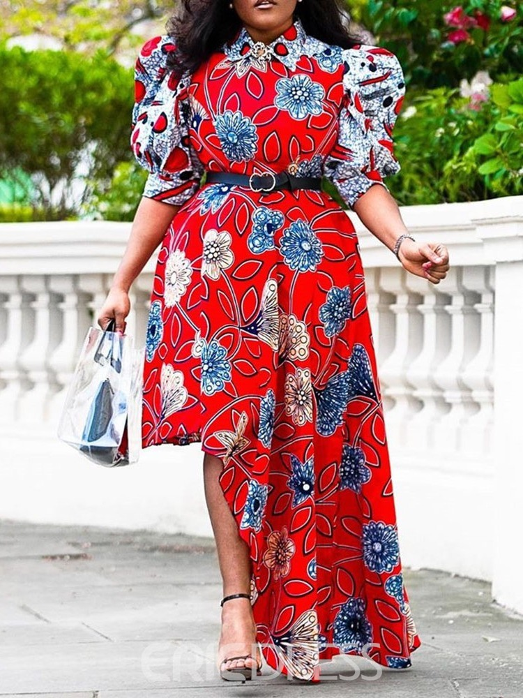 Ericdress Print Three-Quarter Sleeve Lapel Fashion Floral Dress