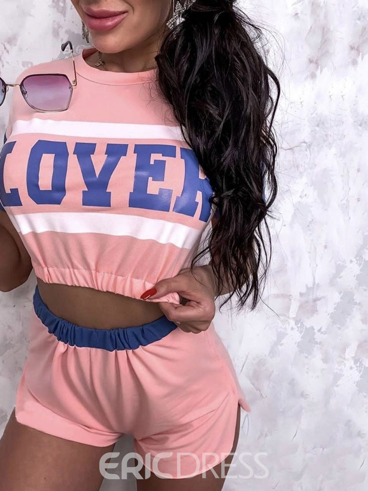 Ericdress Letter Print Polyester Anti-Sweat Short Sleeve Pullover Clothing Sets