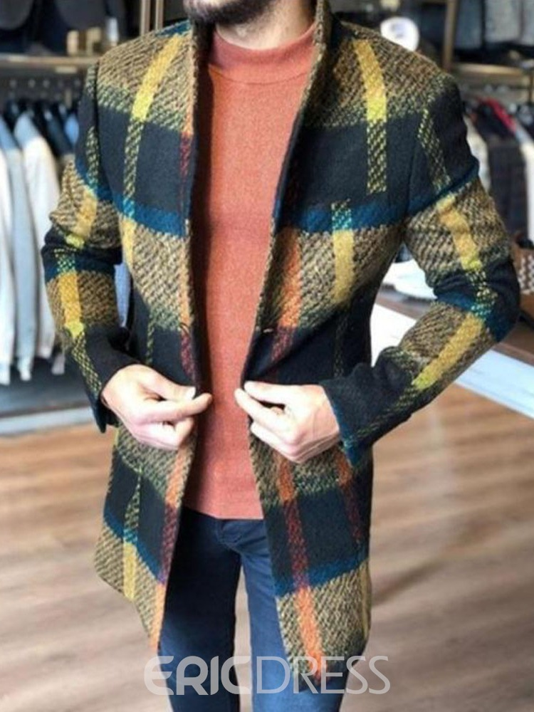 Ericdress Stand Collar Plaid Mid-Length Slim Spring Coat