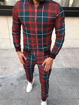 Ericdress European Patchwork Plaid Fall Men's Coat Outfit