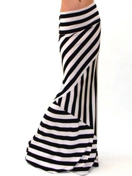 Ericdress Stripe Bodycon Floor-Length Casual Skirt