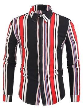 Ericdress Men's Coat Korean Lapel Stripe Spring Single-Breasted Shirt