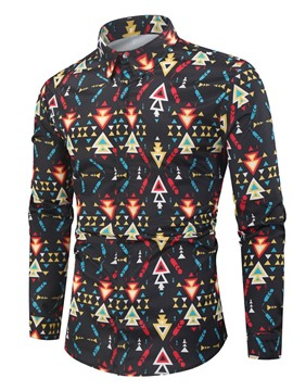 Ericdress Men's Coat Geometric Print Korean Slim Fall Shirt