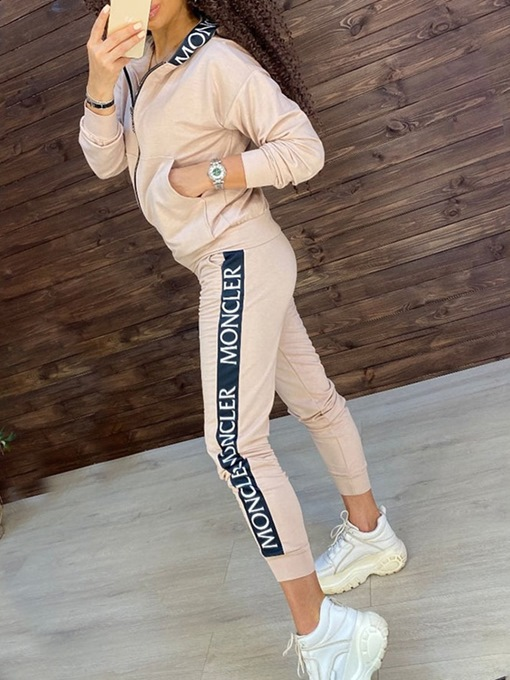 Ericdress Print Letter Anti-Sweat Polyester Zipper Long Sleeve Clothing Sets