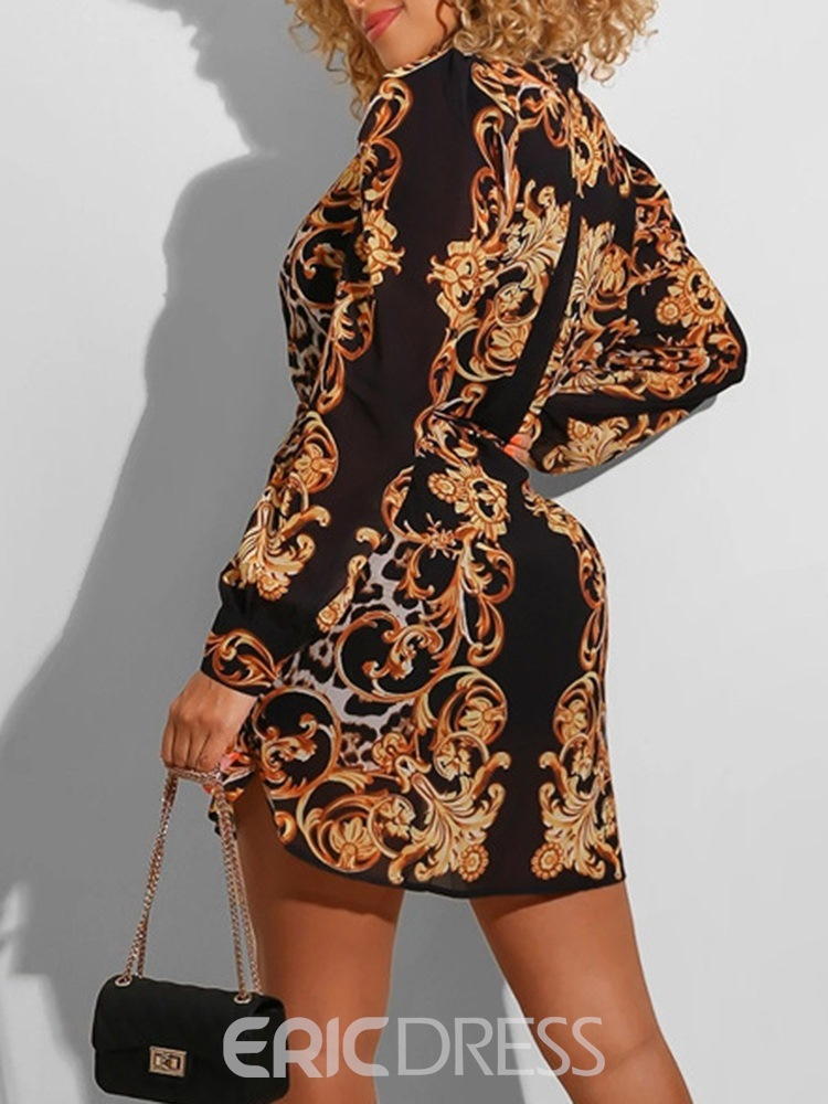 Ericdress Long Sleeve Lace-Up Above Knee Fall Lantern Sleeve Dress