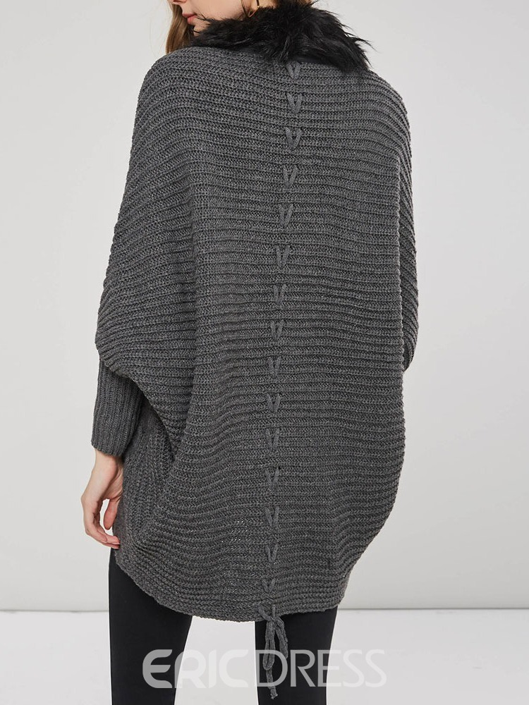 Ericdress Thick Patchwork Single-Breasted Loose V-Neck Sweater