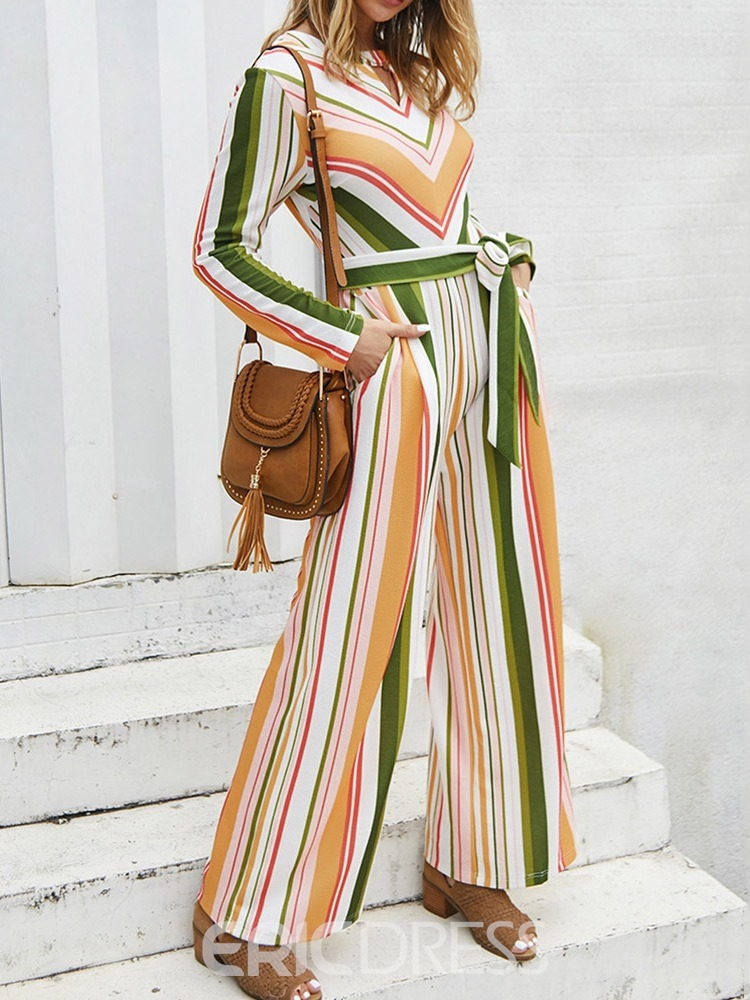 Ericdress Full Length Stripe Lace-Up Straight Loose Jumpsuit