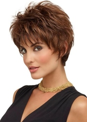 Ericdress Womens Short Layered Hairstyle Natural Straight Synthetic Hair Capless Wigs With Bangs 8Inch