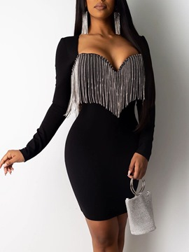 Ericdress Above Knee Long Sleeve Tassel Pullover Party/Cocktail Dress