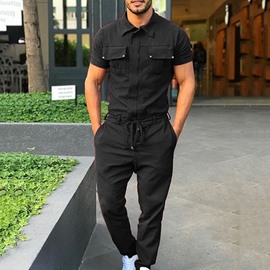 Ericdress Men's Full Length Pocket Plain Casual Jumpsuits/Overalls