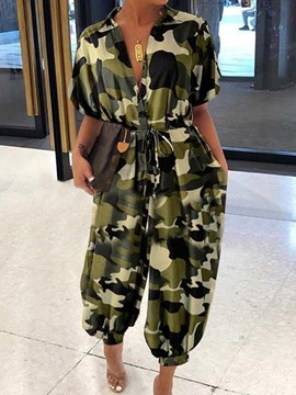 Ericdress Casual Camouflage Ankle Length Women's Loose Jumpsuit