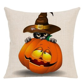 Ericdress Halloween Linen Machine Wash Pillowcase Reactive Printing Cartoon