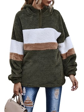 Ericdress Color Block Pocket Regular Long Sleeve Mid-Length Hoodie