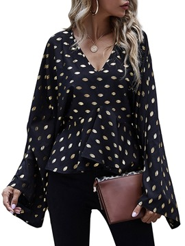 Ericdress V-Neck Flare Sleeve Print Long Sleeve Standard Blouse