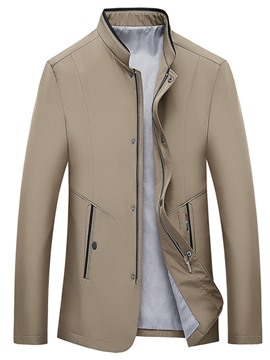 Ericdress Men's Coat Color Block Patchwork Slim Zipper Jacket