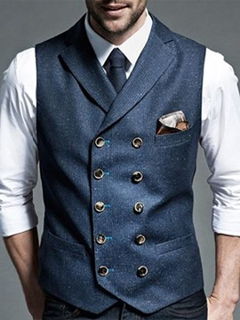Ericdress Men's Coat Plain Lapel Button European Fall Waistcoat