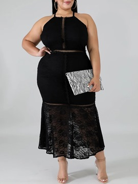Ericdress Lace Sleeveless Ankle-Length Mermaid PlusSize Dress