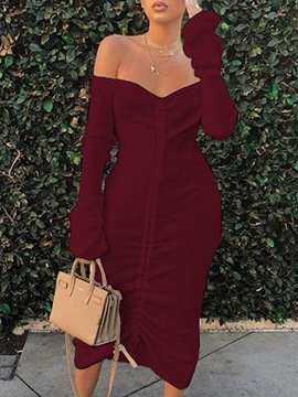 Ericdress Lace-Up Mid-Calf Off Shoulder Regular Mid Waist Dress
