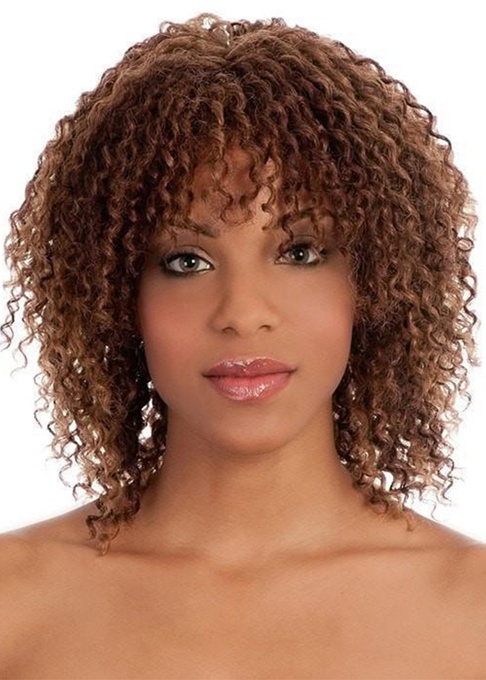 Ericdress Women's Shoulder Length Layered Curl Hairstyle Curly Synthetic Hair Capless Wigs With Bangs 16Inch
