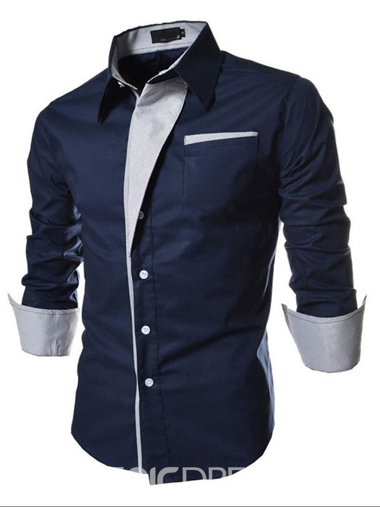 Ericdress Lapel Patchwork Color Block Single-Breasted Men's Shirt