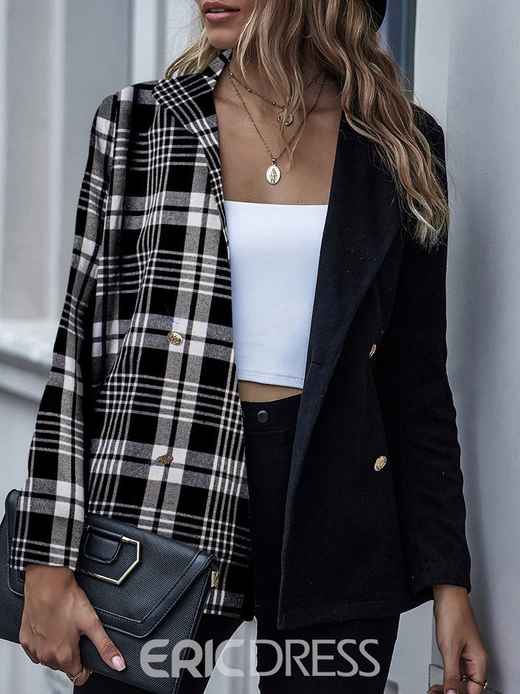 Ericdress Lapel Double-Breasted Long Sleeve Fall Mid-Length Casual Blazer