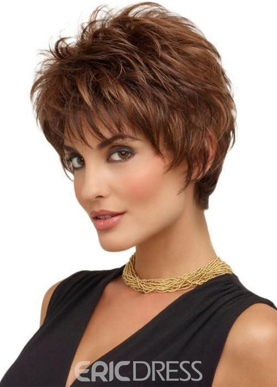 Ericdress Women's Short Layered Hairstyle Natural Straight Synthetic Hair Capless Wigs With Bangs 8Inch