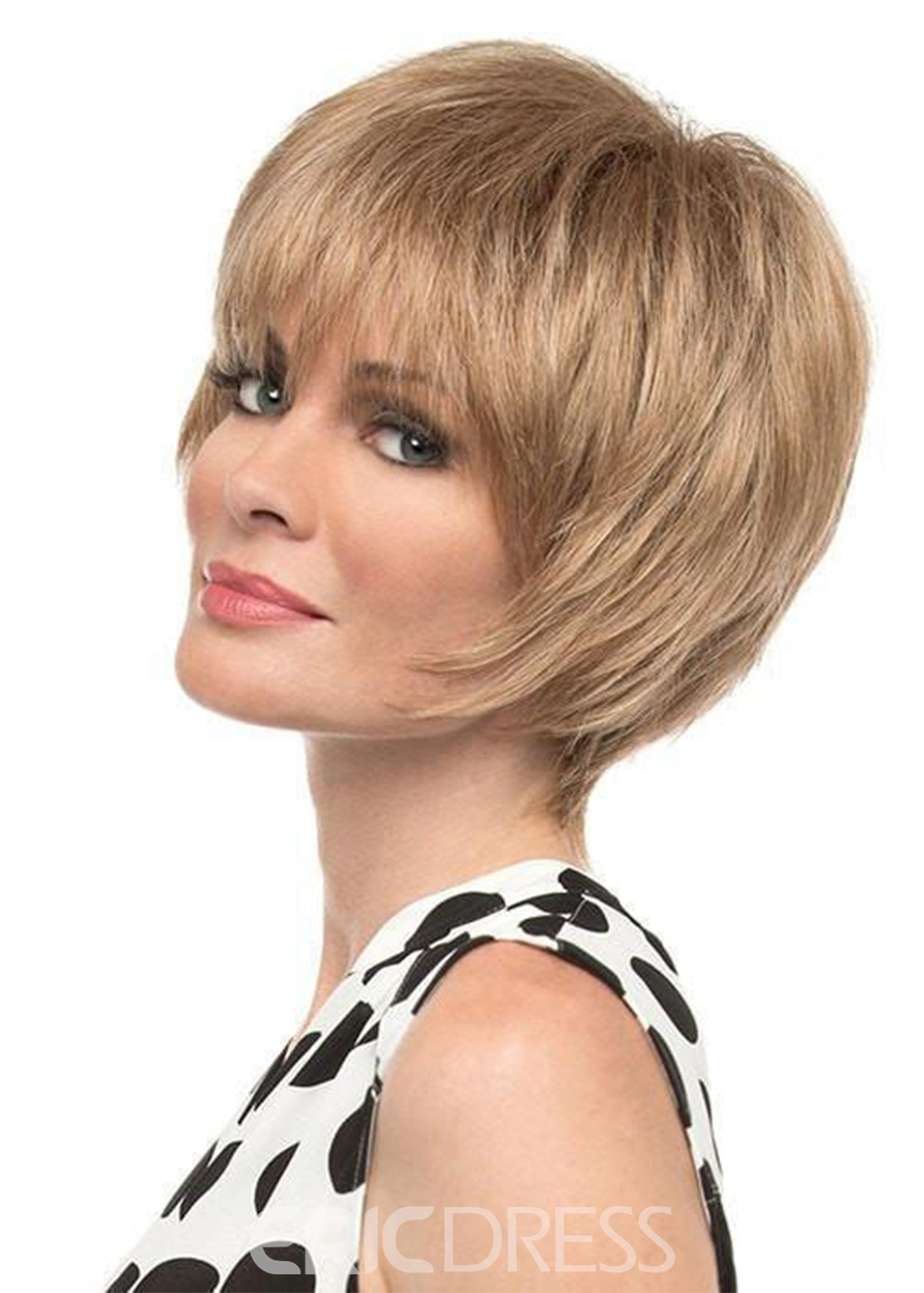 Ericdress Short Bob Hairstyles Women's Natural Straight Human Hair Wigs With Bangs Lace Front Wig 8Inch