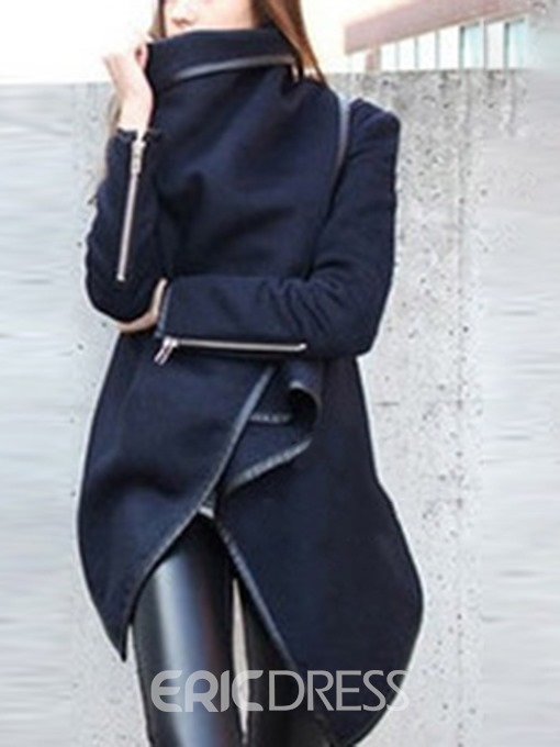 Ericdress Turtleneck Hidden Button Mid-Length Regular Fashion Trench Coat