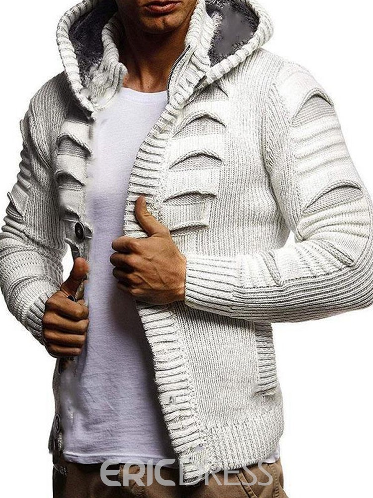 Ericdress Men's Coat Hooded Single-Breasted Slim Sweater