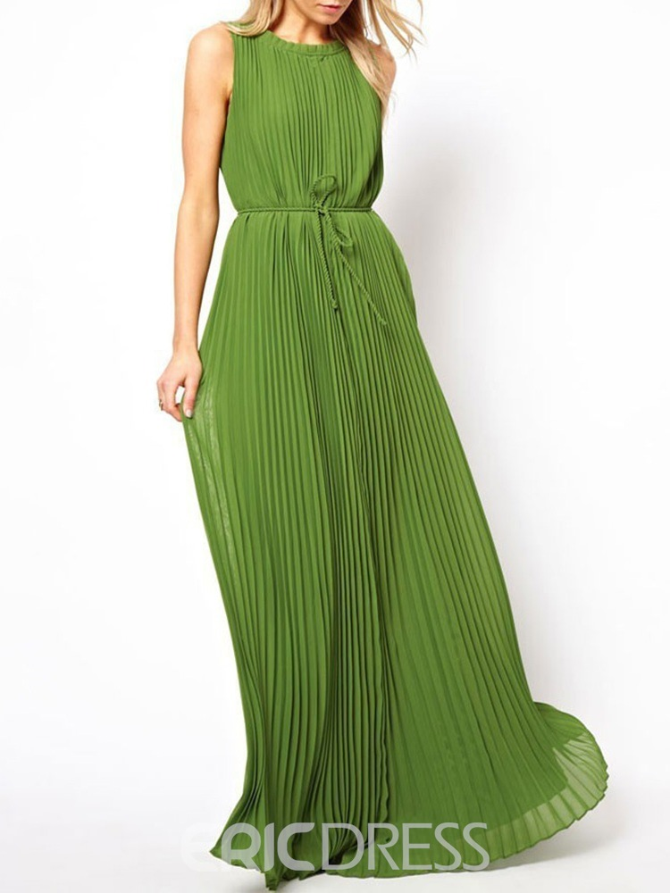 Ericdress Lace-Up Round Neck Floor-Length Plain Pullover Dress