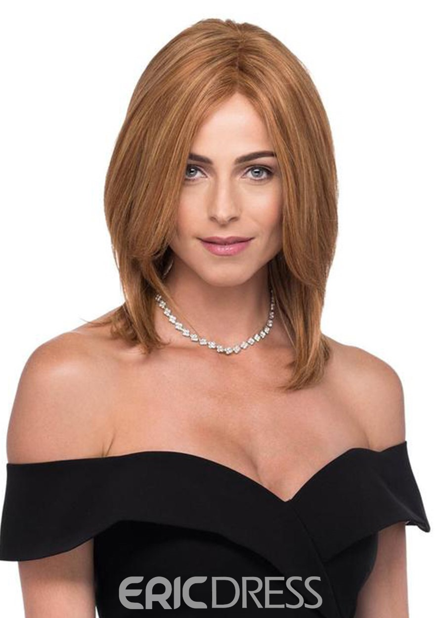 Ericdress Medium Hairstyles Women's Brown Color Natural Straight Human Hair Lace Front Wigs 16inch