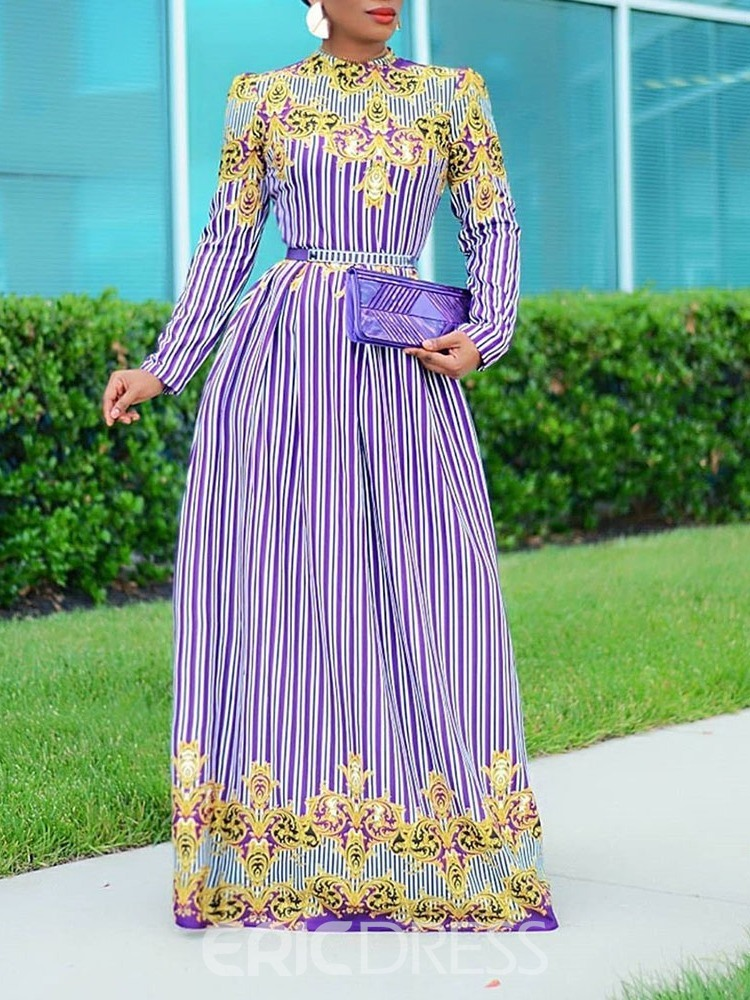 Ericdress Plus Size Floor-Length Round Neck Long Sleeve Office Lady Fall Dress