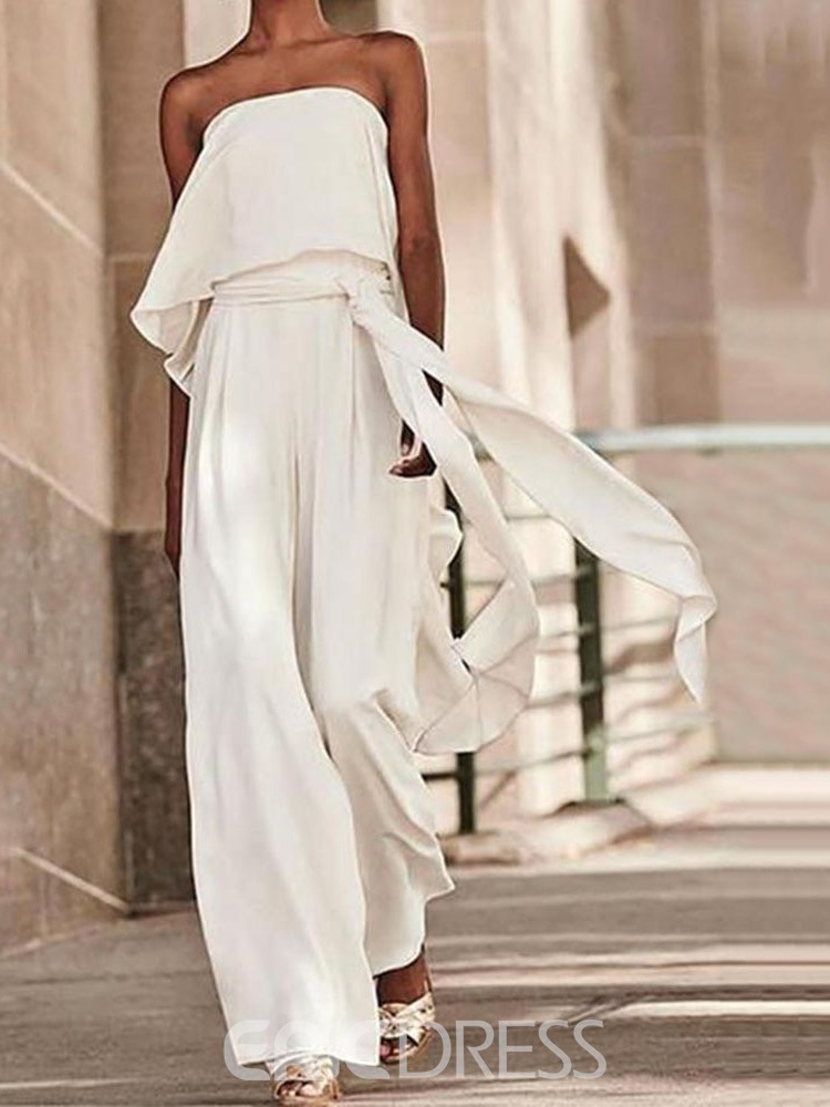 Ericdress Plain Lace-Up Fashion Loose Straight Jumpsuit