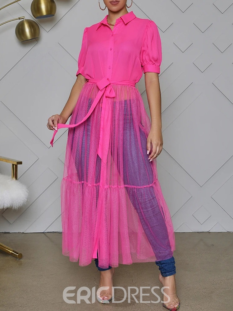 Ericdress See-Through Ankle-Length Lapel Summer Single-Breasted Dress