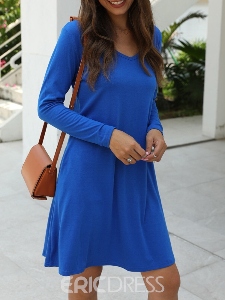 Ericdress V-Neck Knee-Length Long Sleeve Plain Fall Dress