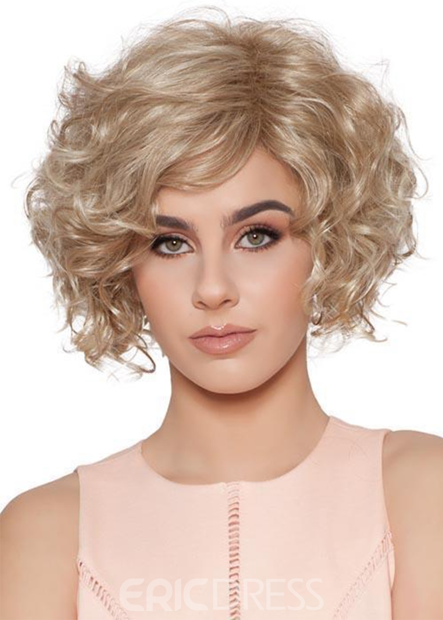 Ericdress Women's Classic Look Layered Bob Tighter Curls Human Hair Lace Front Wigs 14Inch