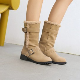 Ericdress Block Heel Plain Round Toe Thread Boots